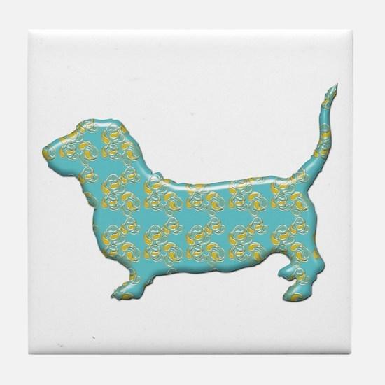 Paisley Basset Tile Coaster
