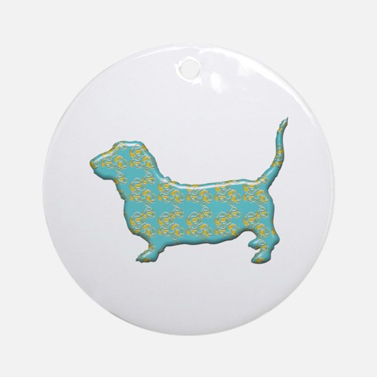 Paisley Basset Ornament (Round)