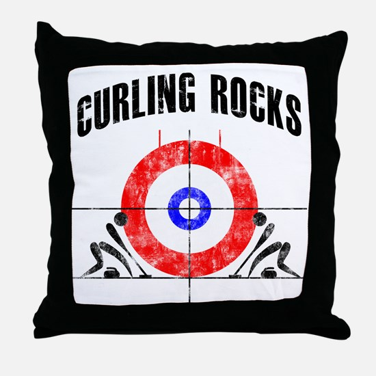 Curling -white Throw Pillow
