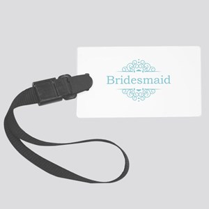 Bridesmaid in blue Large Luggage Tag