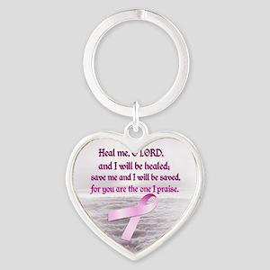 Pink Ribbon Healing 1 Heart Keychain