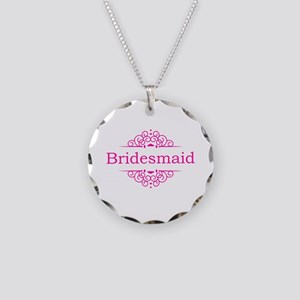 Bridesmaid in hot pink Necklace Circle Charm