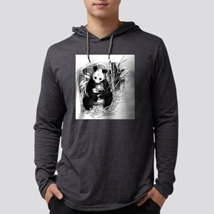 Panda and baby Mens Hooded Shirt
