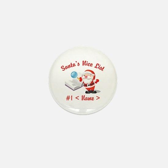 Personalized Santa's Nice List Mini Button