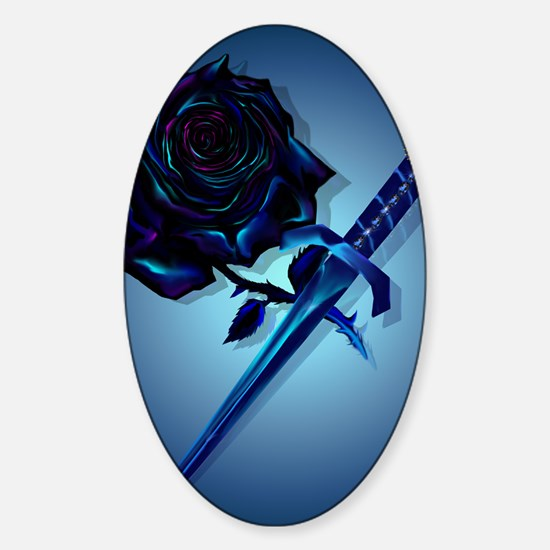 The Black Rose and Dagger Poster P Sticker (Oval)