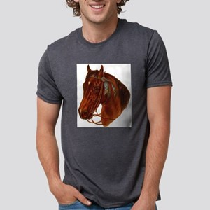 brown horse blue ribbon Mens Tri-blend T-Shirt