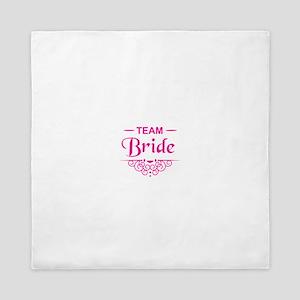 Team Bride in hot pink Queen Duvet