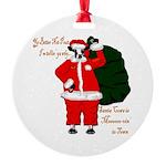 Santa Cows (Santa Claus) Round Ornament