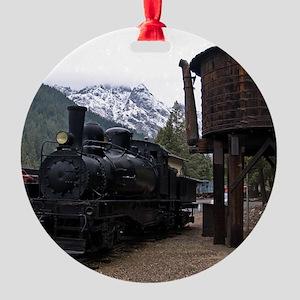 (4) shay locomotive  tower Round Ornament