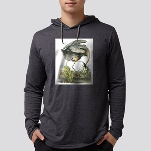 Great Blue Heron Mens Hooded Shirt