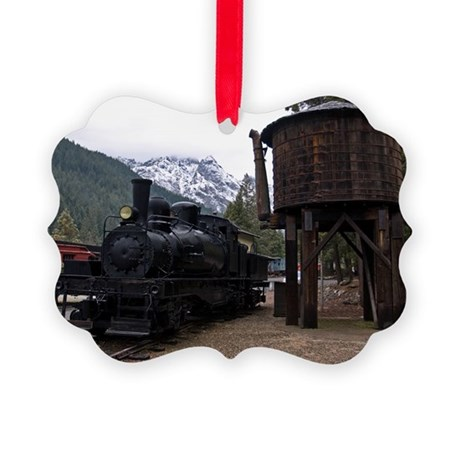 (11) shay locomotive tower Picture Ornament