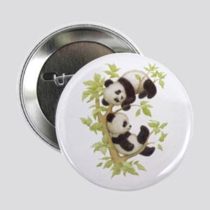Pandas Playing In A Tree Button