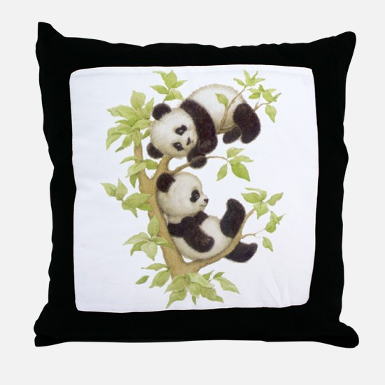 Pandas Playing In A Tree Throw Pillow