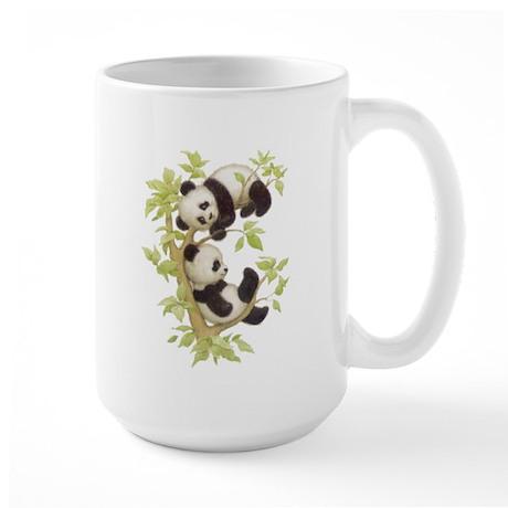 Pandas Playing In A Tree Large Mug