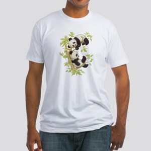 Pandas Playing In A Tree Fitted T-Shirt