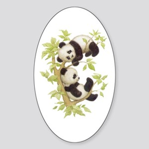 Pandas Playing In A Tree Oval Sticker