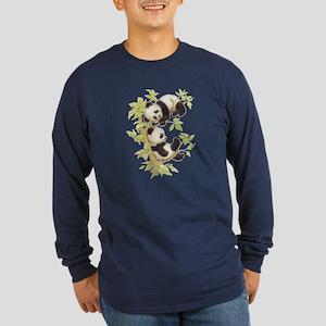 Pandas Playing In A Tree Long Sleeve Dark T-Shirt