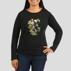 Pandas Playing In A Tree Women's Long Sleeve Dark
