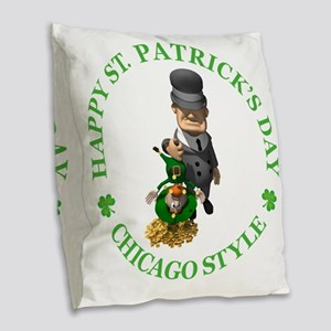 2-IRISH chicago style 2 copy Burlap Throw Pillow