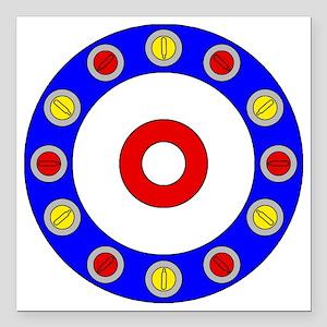 "Curling Clock 8x8 Square Car Magnet 3"" x 3"""