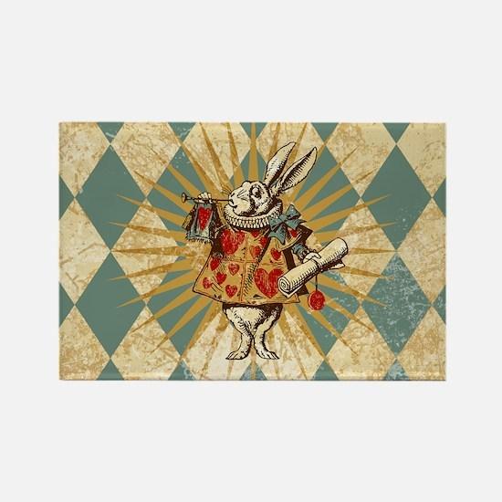 White Rabbit Vintage Rectangle Magnet