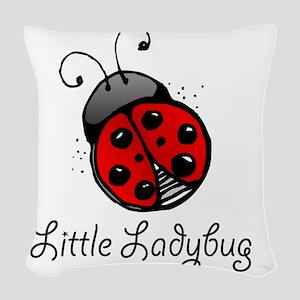 Ladybug -white Woven Throw Pillow