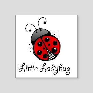 "Ladybug -white Square Sticker 3"" x 3"""