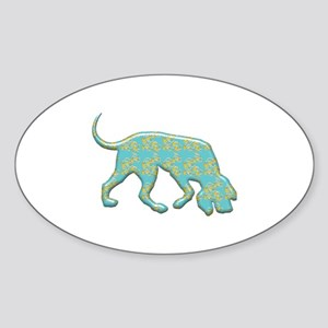 Paisley Bloodhound Oval Sticker