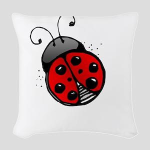Ladybug -dark Woven Throw Pillow