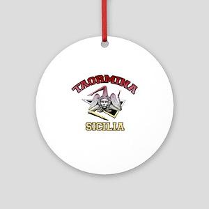 taormina_t_shirt_varsity Round Ornament