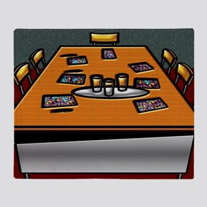 5-Boardroom Table Chairs Glasses Con Throw Blanket