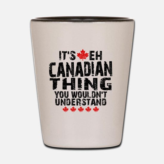 Canadian Button Shot Glass
