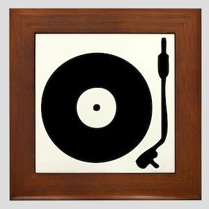 Vinyl Record Turntable Framed Tile