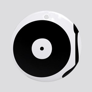 Vinyl Record Turntable Round Ornament