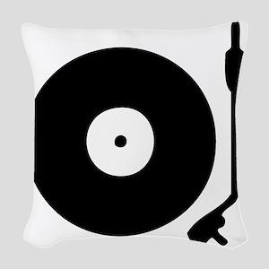 Vinyl Record Turntable Woven Throw Pillow