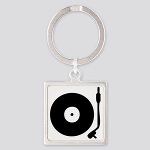 Vinyl Record Turntable Square Keychain
