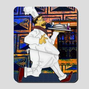 Cook with food tray postcard 4 5x6 5 edi Mousepad