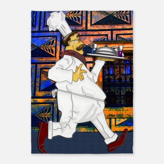 Cook with food tray large poster 23 5'x7'Area Rug