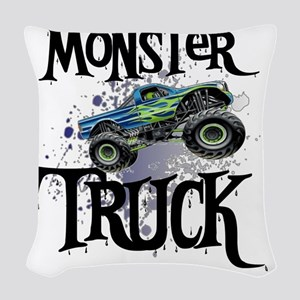 Monster_Truck_cp Woven Throw Pillow