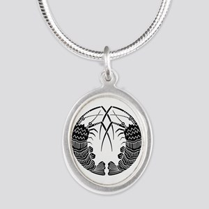 Facing spiny lobsters Silver Oval Necklace