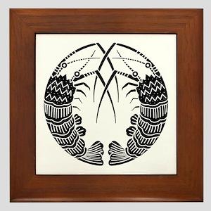 Facing spiny lobsters Framed Tile