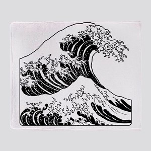 great_wave_black_10x10 Throw Blanket