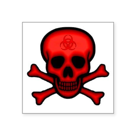 "skullXBnsBioRed2Crop Square Sticker 3"" x 3"""