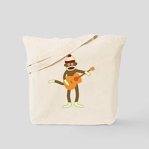 Sock Monkey Acoustic Guitar Player Tote Bag