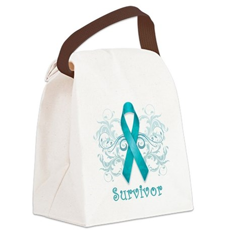 TealCancerSurvivor Canvas Lunch Bag
