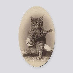 Cat_tee Oval Car Magnet