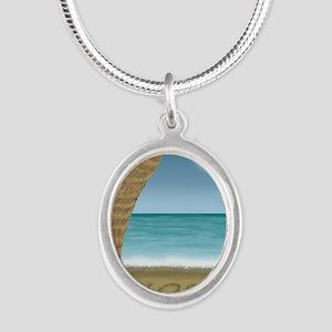 TSHIRT_LostPalmTreedesign cop Silver Oval Necklace