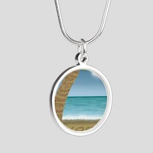 TSHIRT_LostPalmTreedesign co Silver Round Necklace