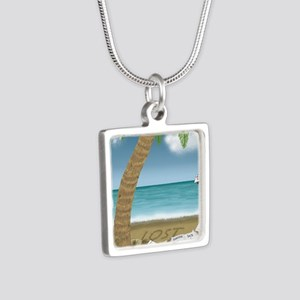 TSHIRT_LostPalmTreedesign  Silver Square Necklace