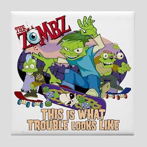 zombz_all_trouble_tshirt-01 Tile Coaster